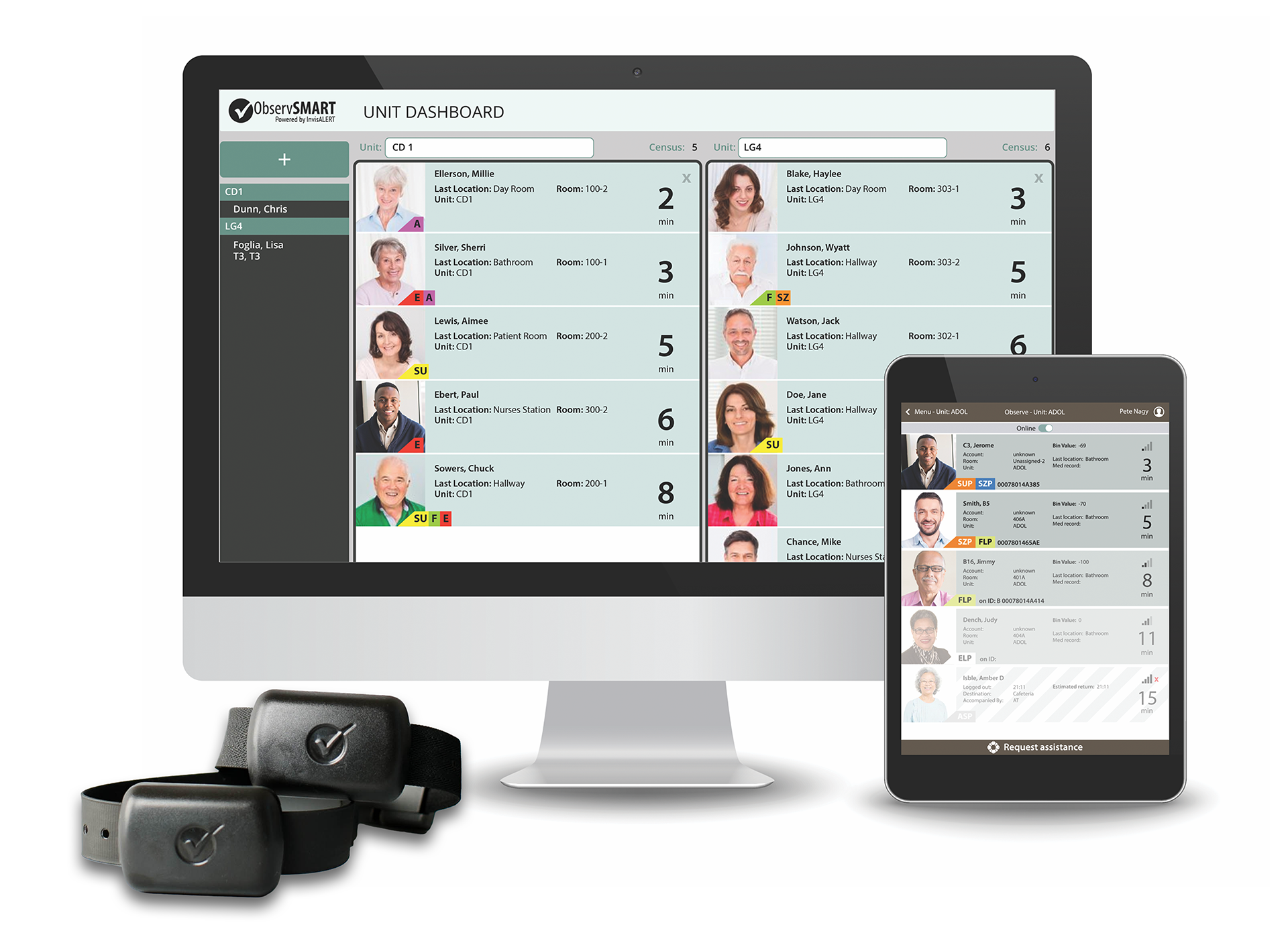 ObservSmart wristbands with patient check screens on desktop and tablet