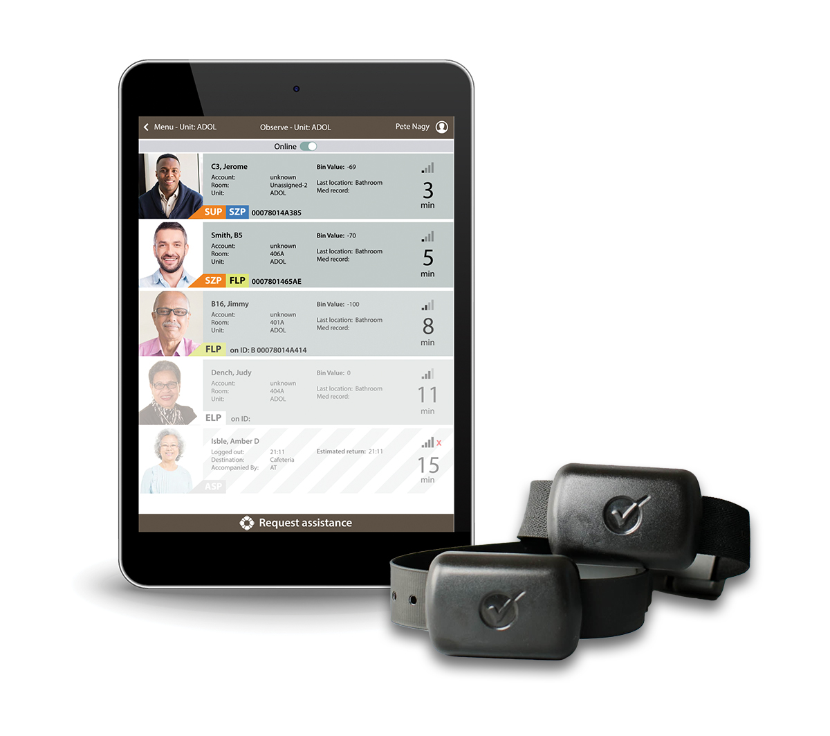 Tablet showing ObservSMART patient checks screen and 2 patient wristbands