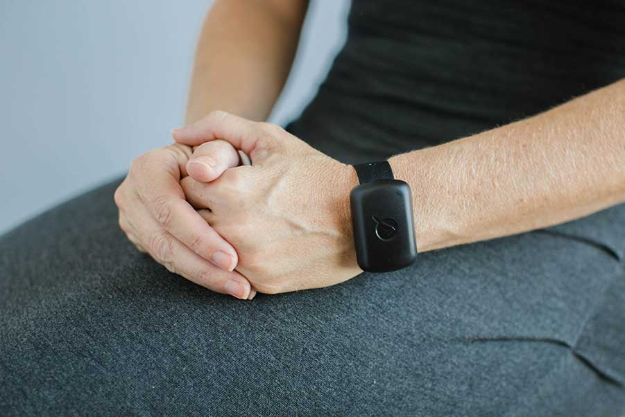 A mental health patient wears the ObservSmart tamper-resistant wristband