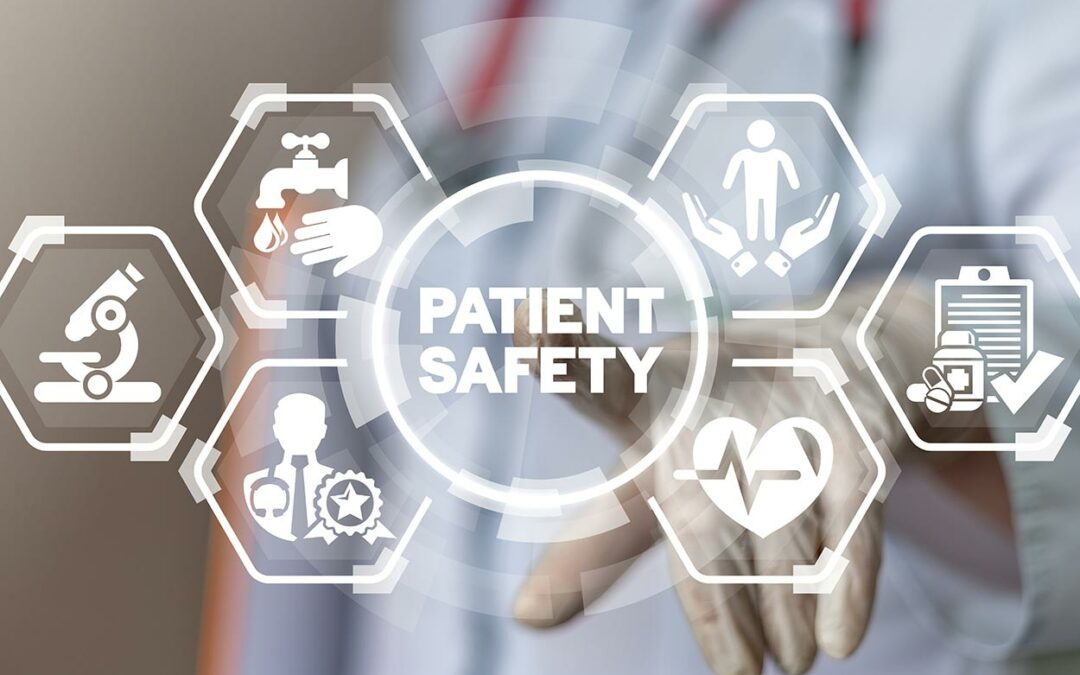 Patient Safety photo with patient safety icons in front